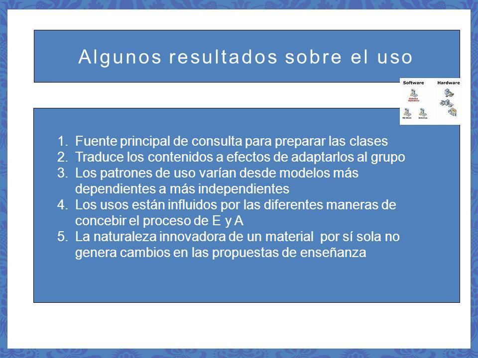 Algunos resultados sobre el uso 1.Fuente principal de consulta para preparar las clases 2.Traduce los contenidos a efectos de adaptarlos al grupo 3.Lo
