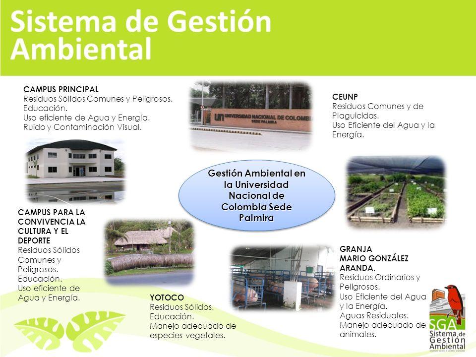 Gestión Ambiental en la Universidad Nacional de Colombia Sede Palmira CEUNP Residuos Comunes y de Plaguicidas.