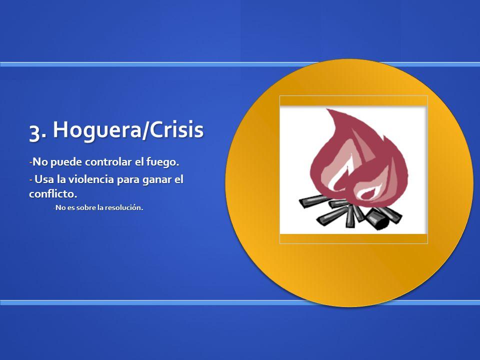 3. Hoguera/Crisis - No puede controlar el fuego. - Usa la violencia para ganar el conflicto. - No es sobre la resolución.