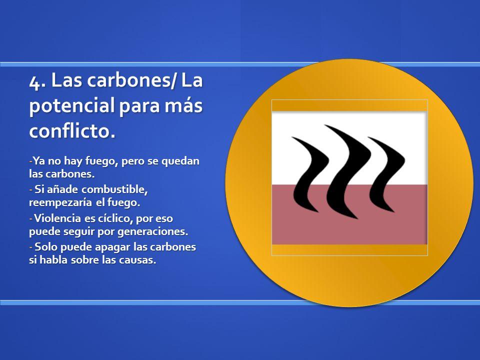4. Las carbones/ La potencial para más conflicto. - Ya no hay fuego, pero se quedan las carbones. - Si añade combustible, reempezaría el fuego. - Viol