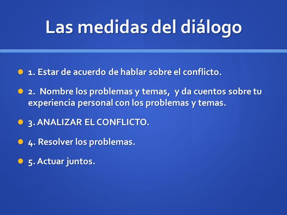 Las medidas del diálogo 1. Estar de acuerdo de hablar sobre el conflicto. 1. Estar de acuerdo de hablar sobre el conflicto. 2. Nombre los problemas y