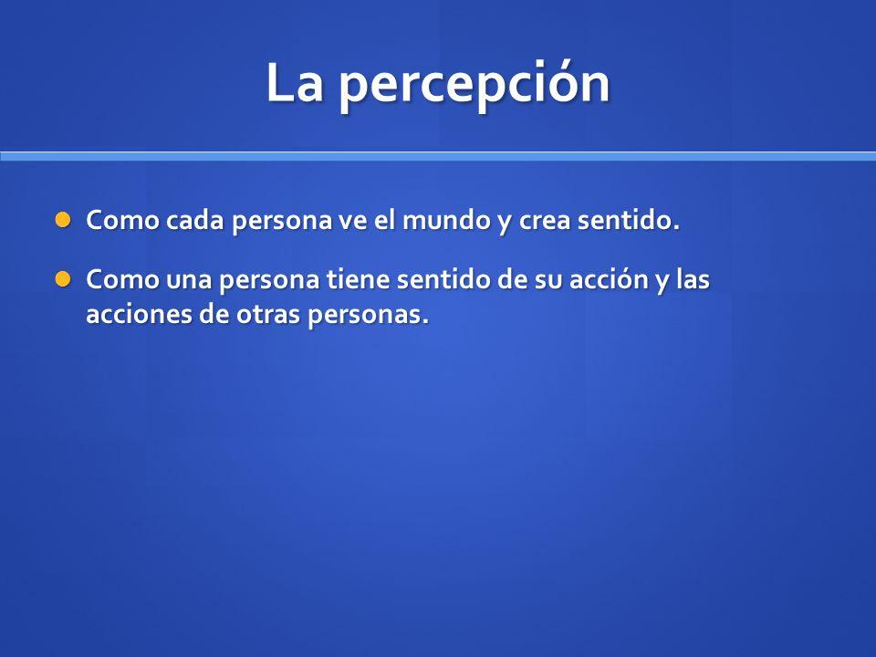 La percepción Como cada persona ve el mundo y crea sentido. Como cada persona ve el mundo y crea sentido. Como una persona tiene sentido de su acción