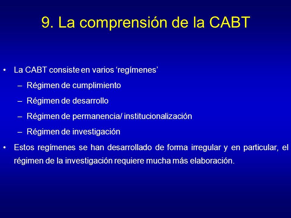 9. La comprensión de la CABT La CABT consiste en varios regímenes –Régimen de cumplimiento –Régimen de desarrollo –Régimen de permanencia/ institucion