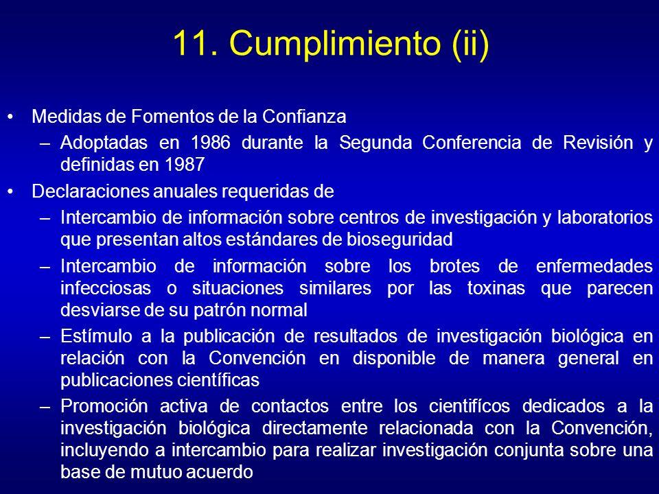 11. Cumplimiento (ii) Medidas de Fomentos de la Confianza –Adoptadas en 1986 durante la Segunda Conferencia de Revisión y definidas en 1987 Declaracio