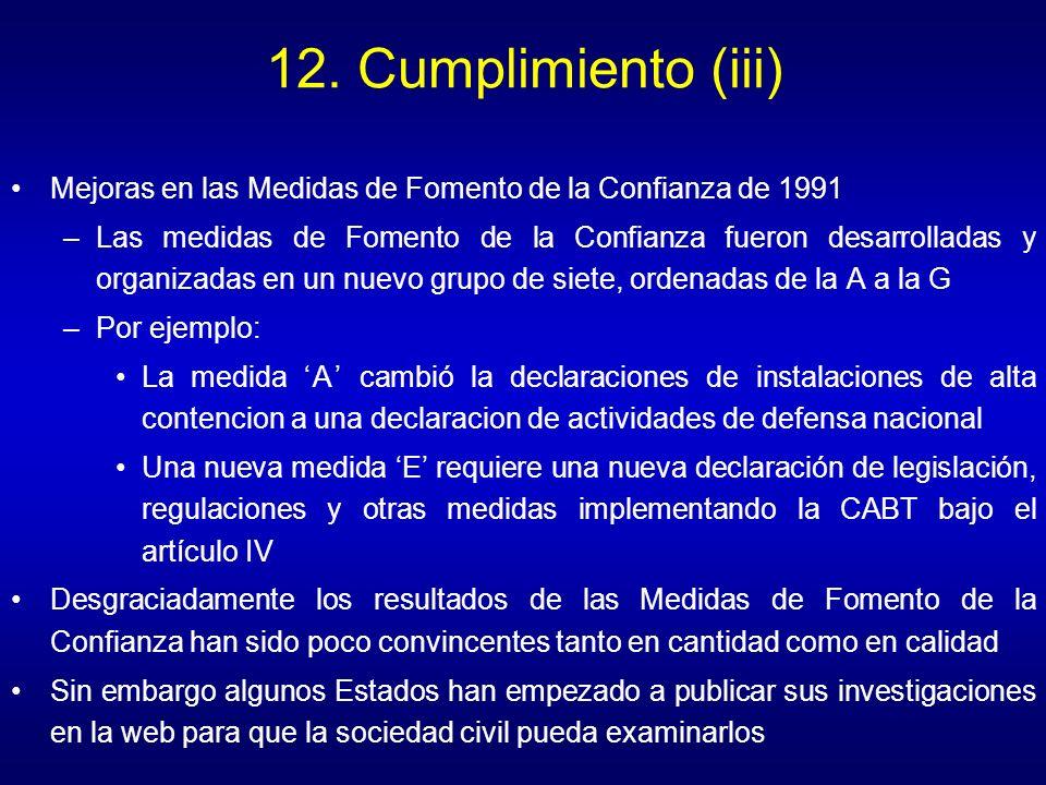 12. Cumplimiento (iii) Mejoras en las Medidas de Fomento de la Confianza de 1991 –Las medidas de Fomento de la Confianza fueron desarrolladas y organi