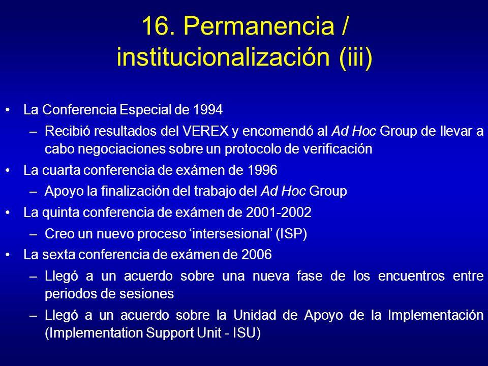 16. Permanencia / institucionalización (iii) La Conferencia Especial de 1994 –Recibió resultados del VEREX y encomendó al Ad Hoc Group de llevar a cab