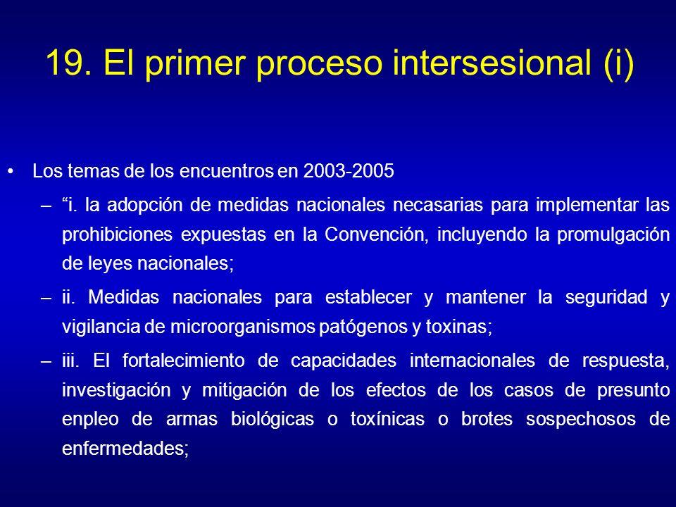 19. El primer proceso intersesional (i) Los temas de los encuentros en 2003-2005 –i. la adopción de medidas nacionales necasarias para implementar las