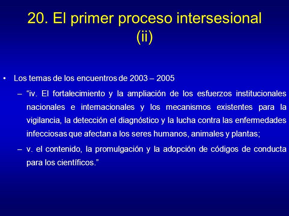 20.El primer proceso intersesional (ii) Los temas de los encuentros de 2003 – 2005 –iv.