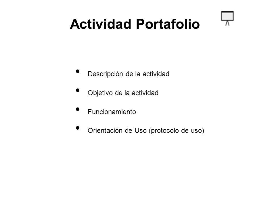 Actividad Portafolio Descripción de la actividad Objetivo de la actividad Funcionamiento Orientación de Uso (protocolo de uso)