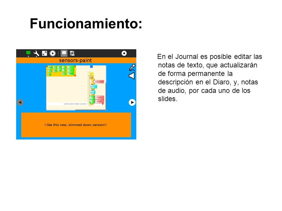 Funcionamiento: En el Journal es posible editar las notas de texto, que actualizarán de forma permanente la descripción en el Diaro, y, notas de audio
