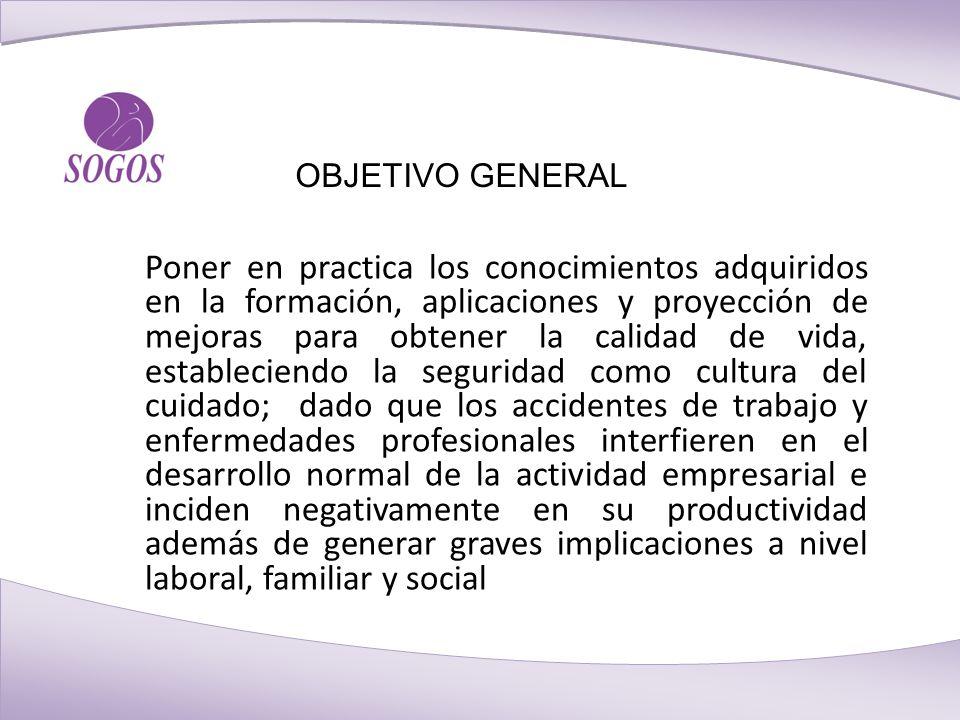 OBJETIVO GENERAL Poner en practica los conocimientos adquiridos en la formación, aplicaciones y proyección de mejoras para obtener la calidad de vida,