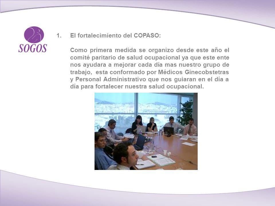 1.El fortalecimiento del COPASO: Como primera medida se organizo desde este año el comité paritario de salud ocupacional ya que este ente nos ayudara