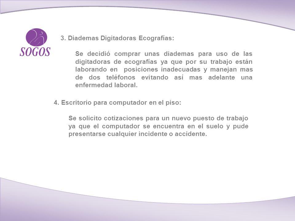 3. Diademas Digitadoras Ecografías: Se decidió comprar unas diademas para uso de las digitadoras de ecografías ya que por su trabajo están laborando e