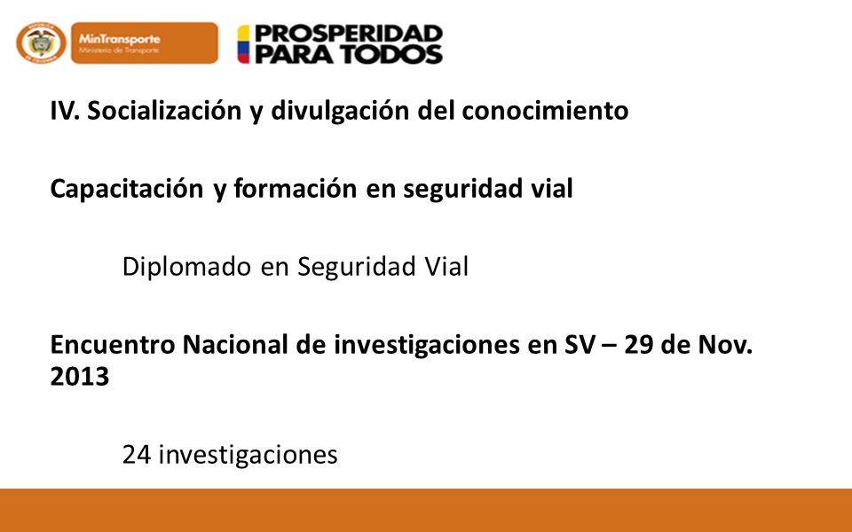 IV. Socialización y divulgación del conocimiento Capacitación y formación en seguridad vial Diplomado en Seguridad Vial Encuentro Nacional de investig