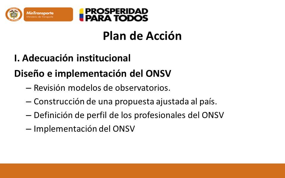 Plan de Acción I. Adecuación institucional Diseño e implementación del ONSV – Revisión modelos de observatorios. – Construcción de una propuesta ajust