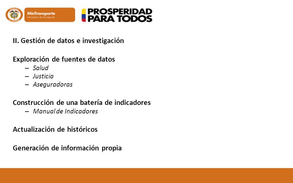 II. Gestión de datos e investigación Exploración de fuentes de datos – Salud – Justicia – Aseguradoras Construcción de una batería de indicadores – Ma