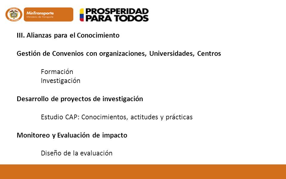 III. Alianzas para el Conocimiento Gestión de Convenios con organizaciones, Universidades, Centros Formación Investigación Desarrollo de proyectos de
