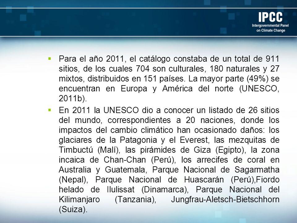 Para el año 2011, el catálogo constaba de un total de 911 sitios, de los cuales 704 son culturales, 180 naturales y 27 mixtos, distribuidos en 151 paí