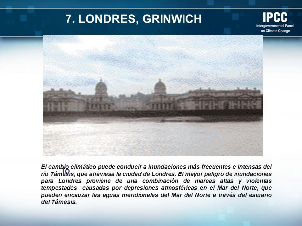 lo El cambio climático puede conducir a inundaciones más frecuentes e intensas del río Támesis, que atraviesa la ciudad de Londres. El mayor peligro d