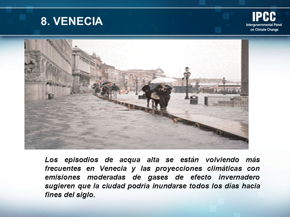 Los episodios de acqua alta se están volviendo más frecuentes en Venecia y las proyecciones climáticas con emisiones moderadas de gases de efecto invernadero sugieren que la ciudad podría inundarse todos los días hacia fines del siglo.