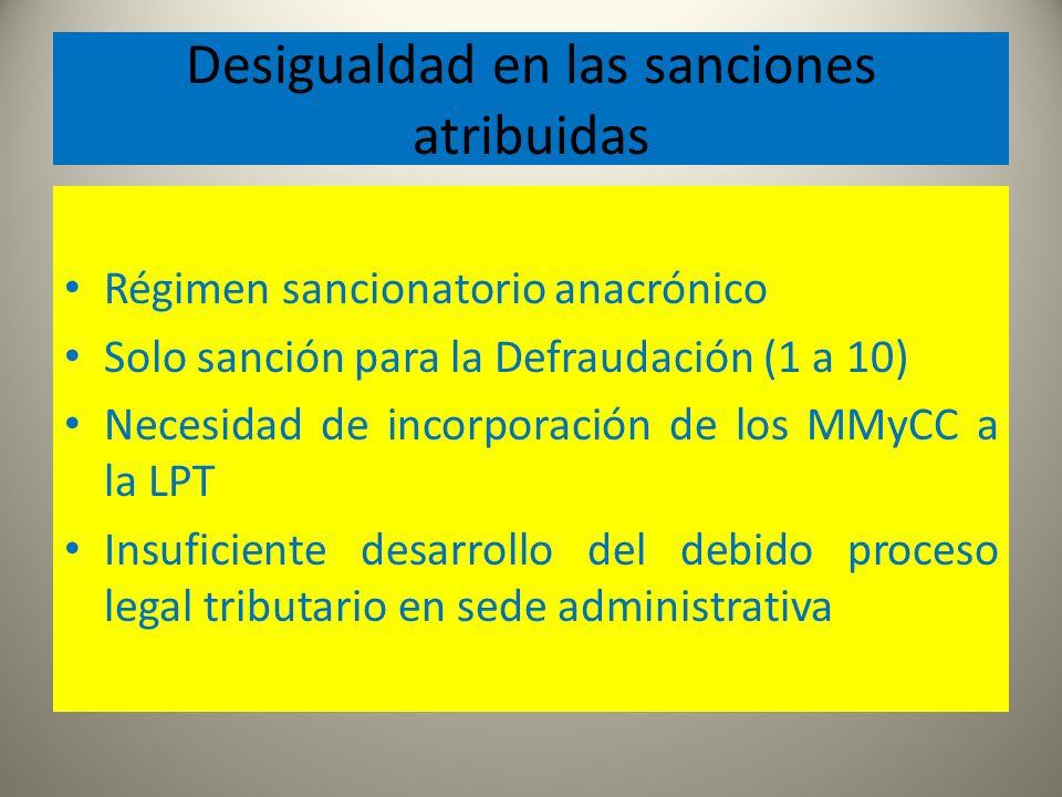 Desigualdad en las sanciones atribuidas Régimen sancionatorio anacrónico Solo sanción para la Defraudación (1 a 10) Necesidad de incorporación de los