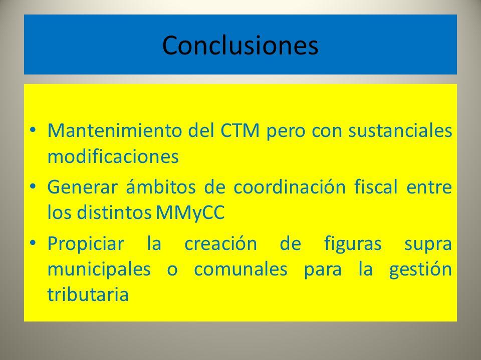 Conclusiones Mantenimiento del CTM pero con sustanciales modificaciones Generar ámbitos de coordinación fiscal entre los distintos MMyCC Propiciar la