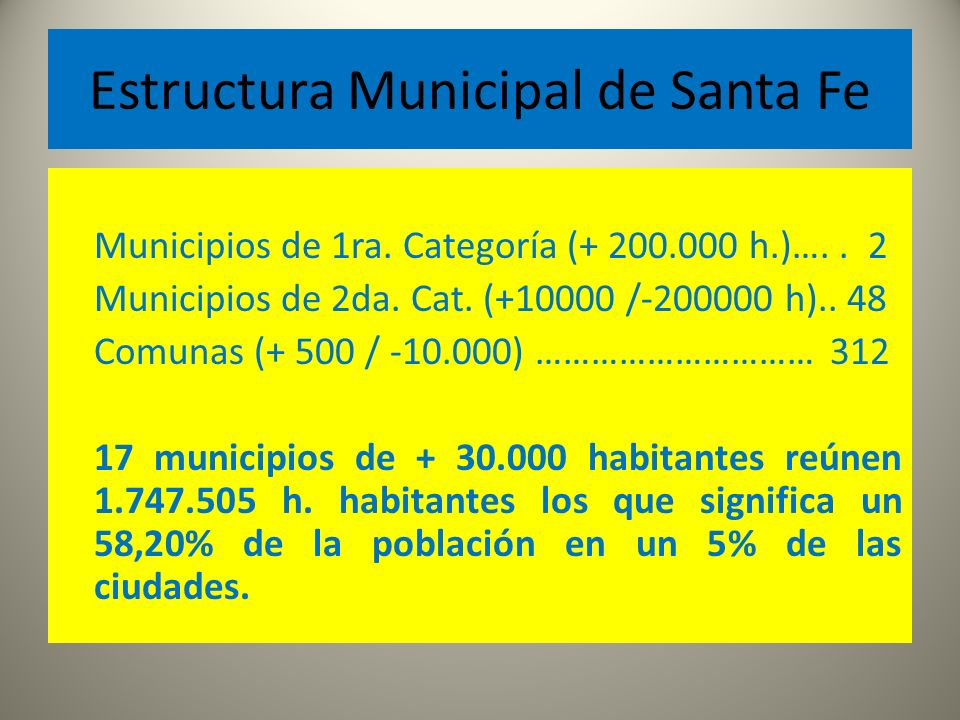 Estructura Municipal de Santa Fe Municipios de 1ra. Categoría (+ 200.000 h.)….. 2 Municipios de 2da. Cat. (+10000 /-200000 h).. 48 Comunas (+ 500 / -1