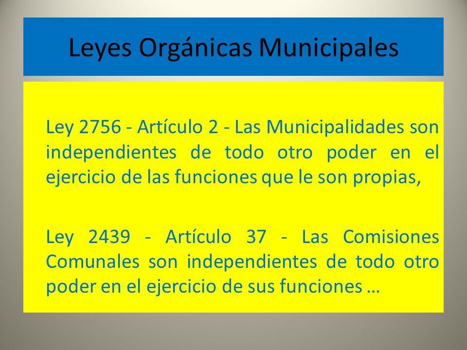 Leyes Orgánicas Municipales Ley 2756 - Artículo 2 - Las Municipalidades son independientes de todo otro poder en el ejercicio de las funciones que le