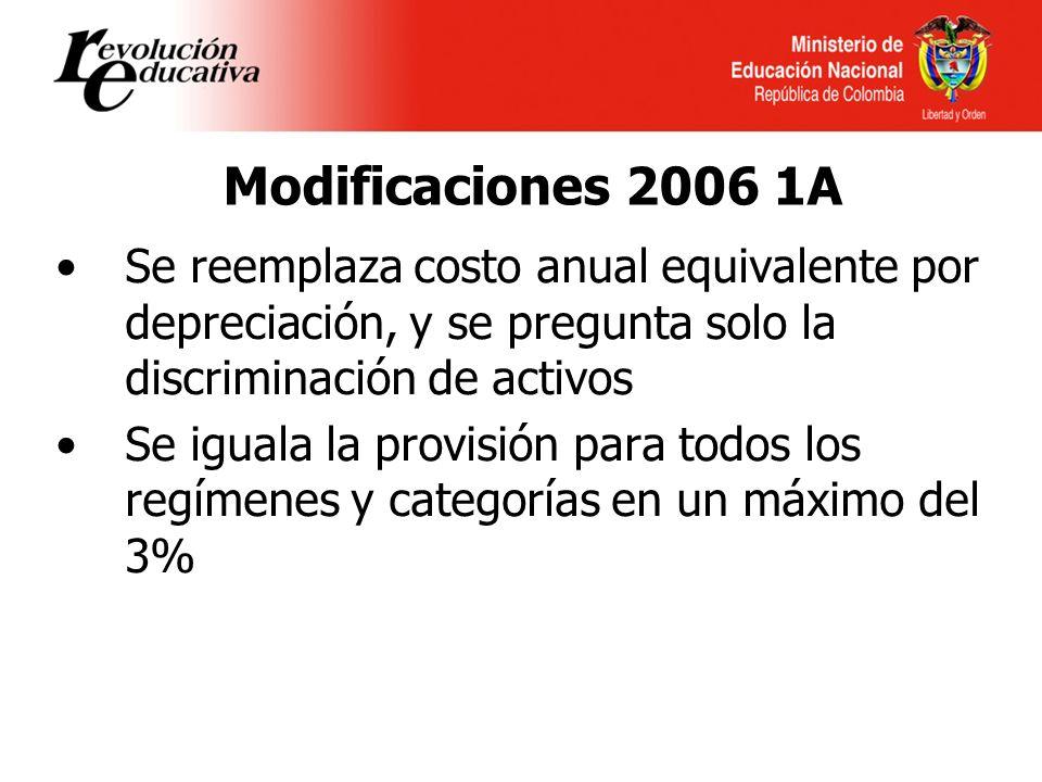Modificaciones 2006 1A Se reemplaza costo anual equivalente por depreciación, y se pregunta solo la discriminación de activos Se iguala la provisión para todos los regímenes y categorías en un máximo del 3%