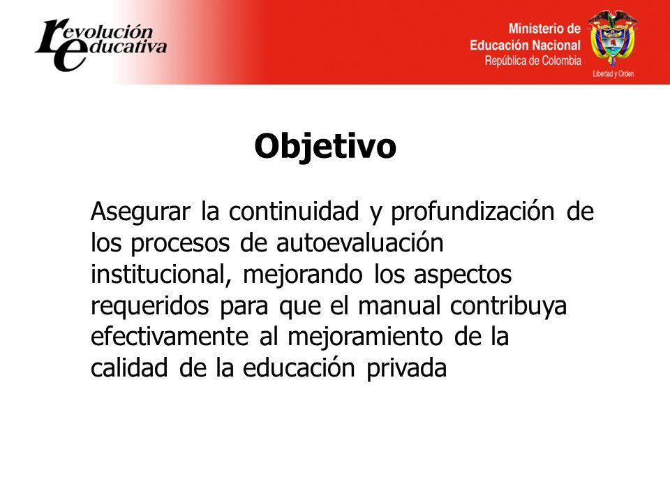 Asegurar la continuidad y profundización de los procesos de autoevaluación institucional, mejorando los aspectos requeridos para que el manual contribuya efectivamente al mejoramiento de la calidad de la educación privada Objetivo