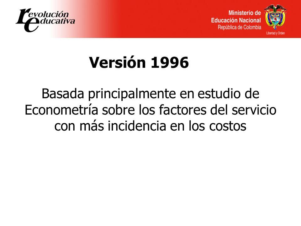 Versión 1996 Basada principalmente en estudio de Econometría sobre los factores del servicio con más incidencia en los costos