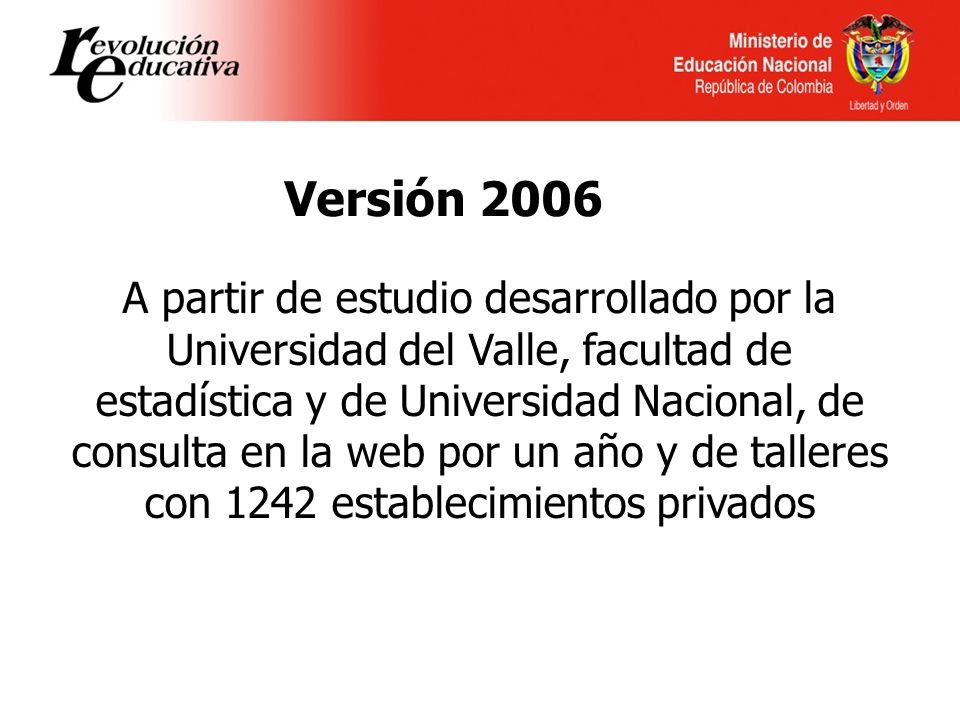 Versión 2006 A partir de estudio desarrollado por la Universidad del Valle, facultad de estadística y de Universidad Nacional, de consulta en la web por un año y de talleres con 1242 establecimientos privados