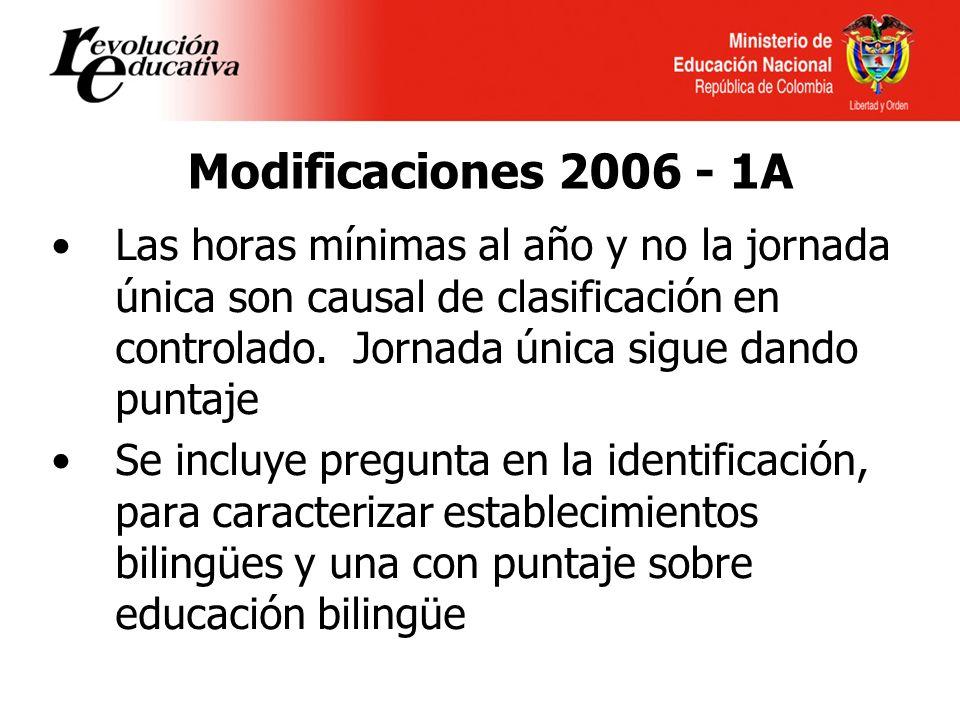 Modificaciones 2006 - 1A Las horas mínimas al año y no la jornada única son causal de clasificación en controlado.