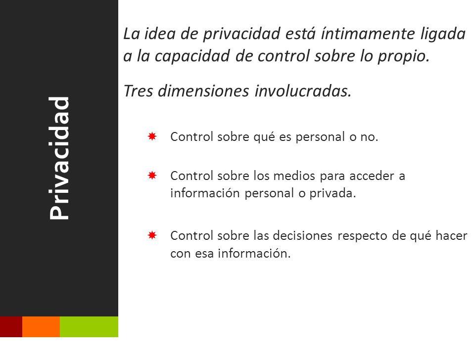 Privacidad La idea de privacidad está íntimamente ligada a la capacidad de control sobre lo propio.