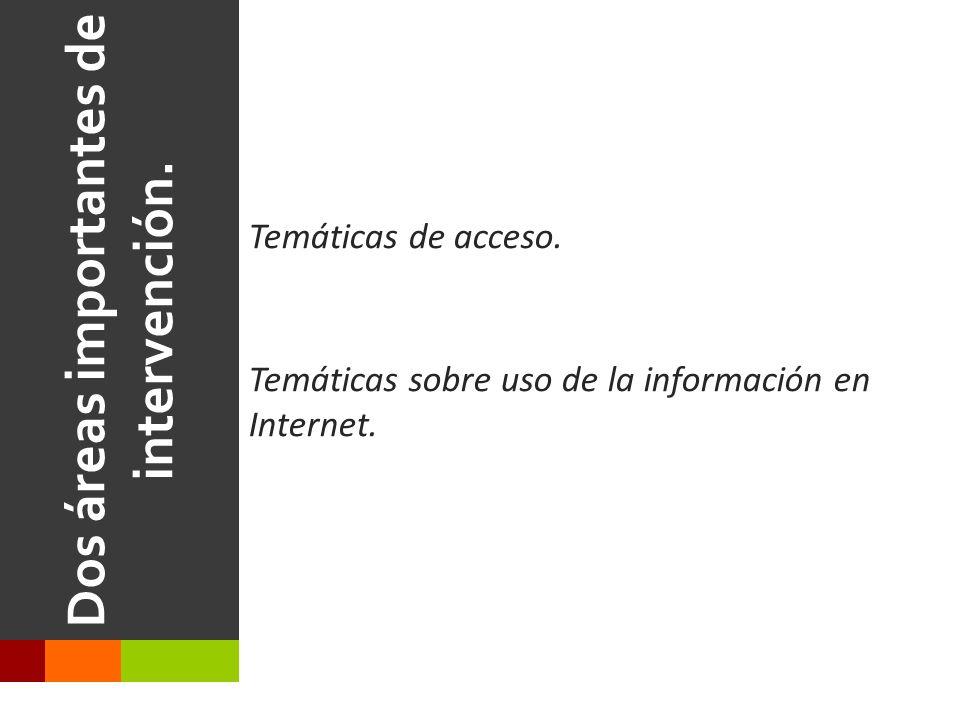 Dos áreas importantes de intervención.Temáticas de acceso.