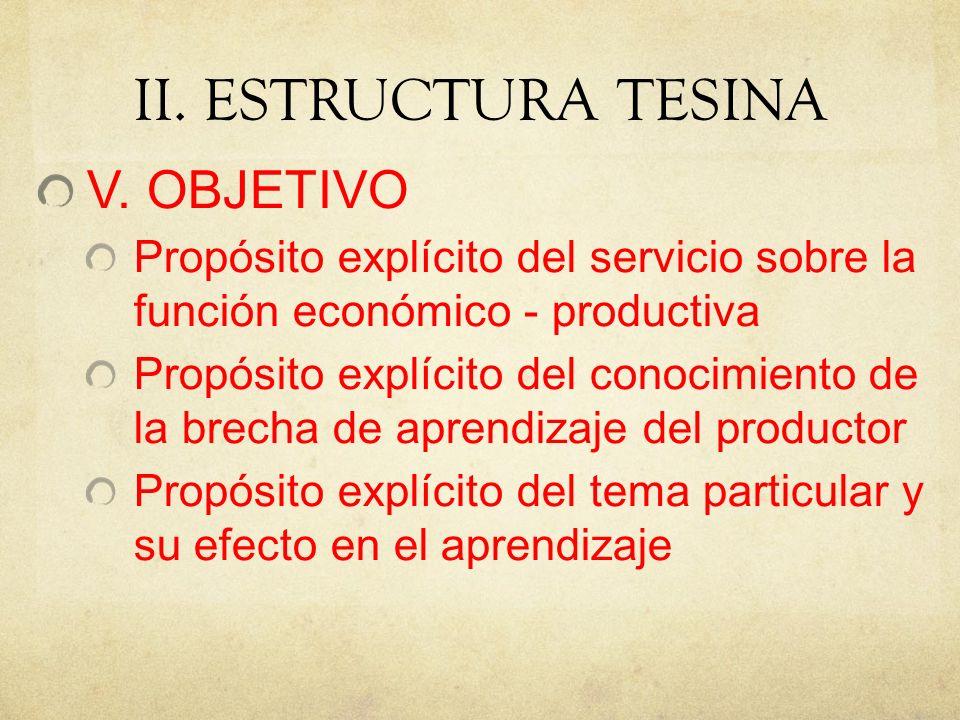 II.ESTRUCTURA TESINA V.