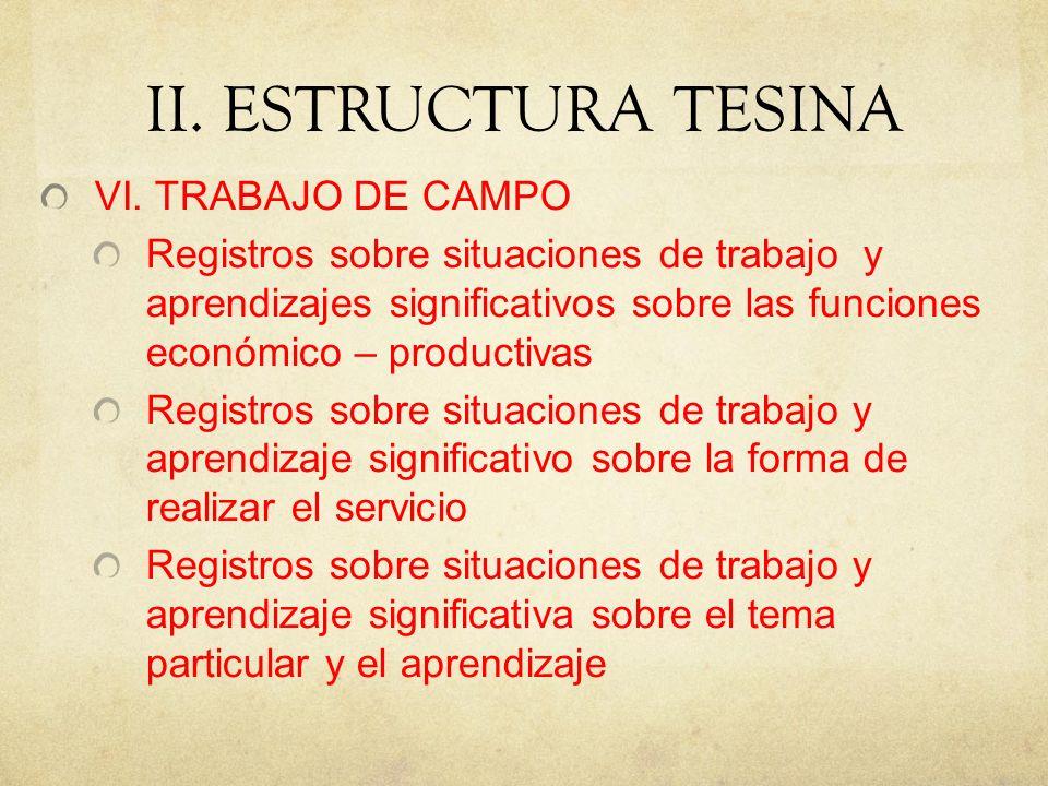 II.ESTRUCTURA TESINA VI.