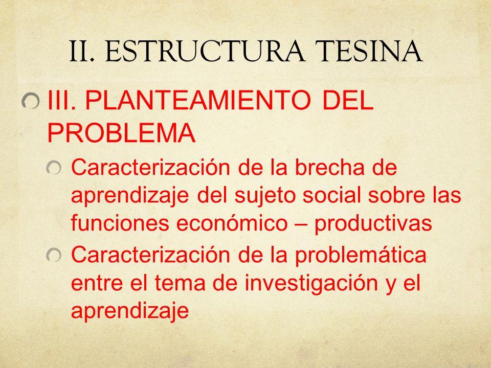 II.ESTRUCTURA TESINA III.