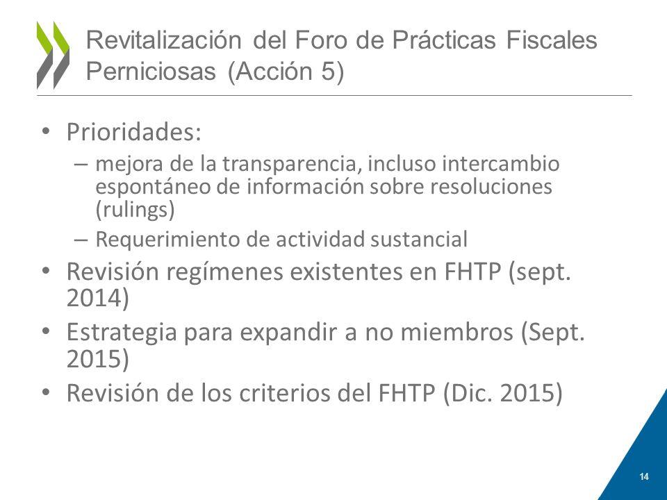 Revitalización del Foro de Prácticas Fiscales Perniciosas (Acción 5) Prioridades: – mejora de la transparencia, incluso intercambio espontáneo de info