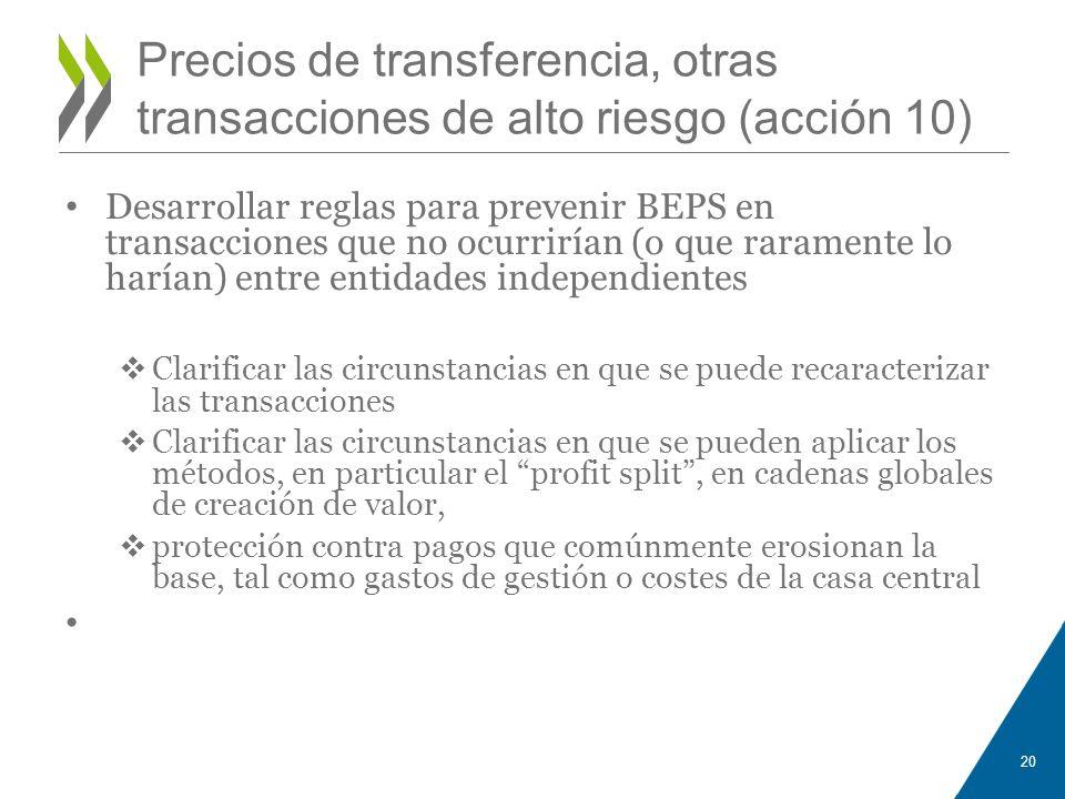 Precios de transferencia, otras transacciones de alto riesgo (acción 10) Desarrollar reglas para prevenir BEPS en transacciones que no ocurrirían (o q