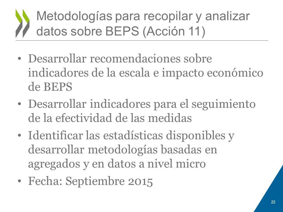 Metodologías para recopilar y analizar datos sobre BEPS (Acción 11) Desarrollar recomendaciones sobre indicadores de la escala e impacto económico de
