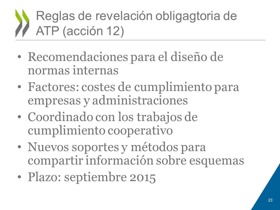 Reglas de revelación obligagtoria de ATP (acción 12) Recomendaciones para el diseño de normas internas Factores: costes de cumplimiento para empresas