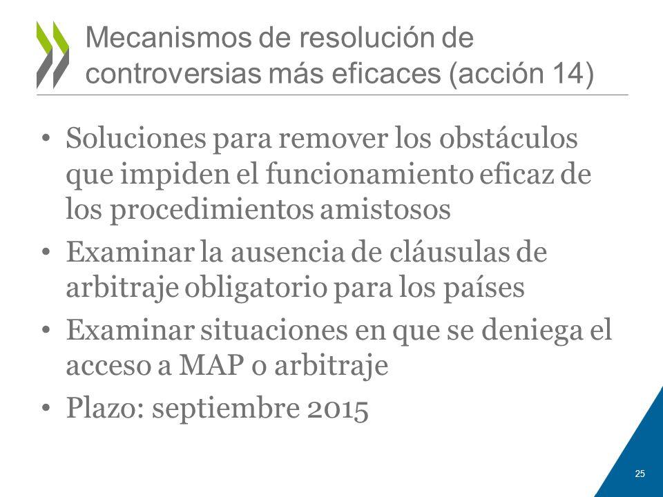 Mecanismos de resolución de controversias más eficaces (acción 14) Soluciones para remover los obstáculos que impiden el funcionamiento eficaz de los