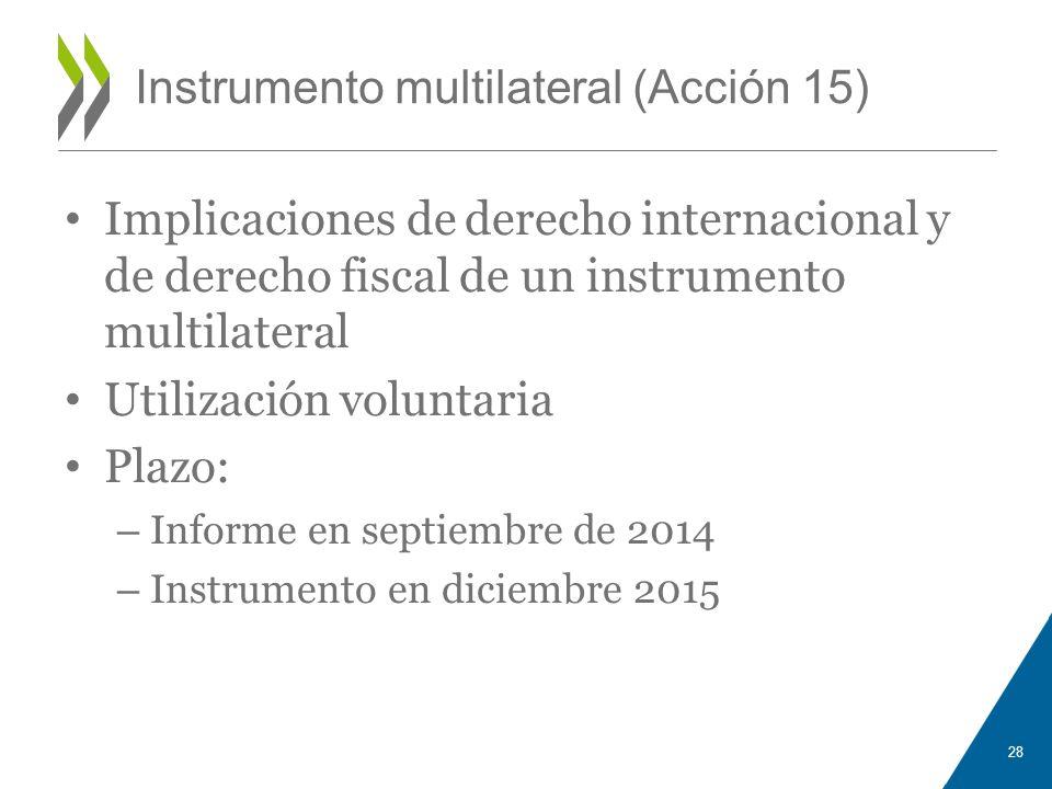 Instrumento multilateral (Acción 15) Implicaciones de derecho internacional y de derecho fiscal de un instrumento multilateral Utilización voluntaria