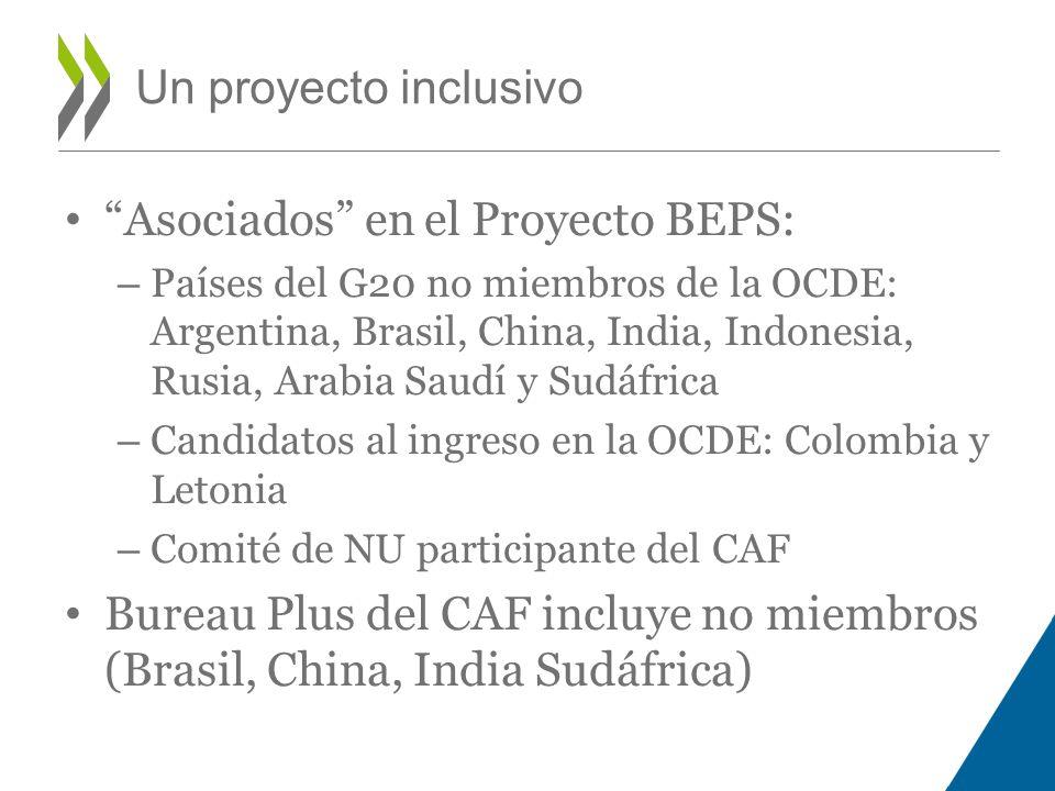 Asociados en el Proyecto BEPS: – Países del G20 no miembros de la OCDE: Argentina, Brasil, China, India, Indonesia, Rusia, Arabia Saudí y Sudáfrica –