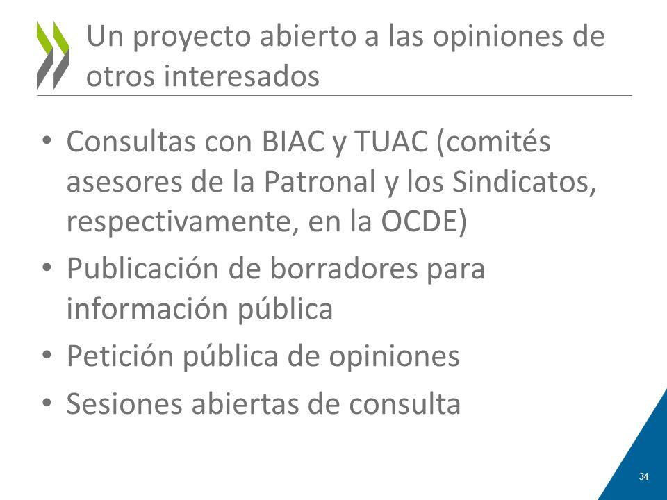 Un proyecto abierto a las opiniones de otros interesados Consultas con BIAC y TUAC (comités asesores de la Patronal y los Sindicatos, respectivamente,