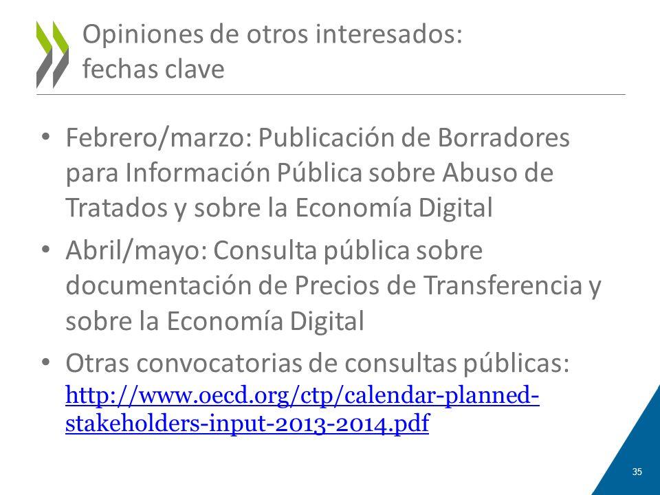 Opiniones de otros interesados: fechas clave Febrero/marzo: Publicación de Borradores para Información Pública sobre Abuso de Tratados y sobre la Econ