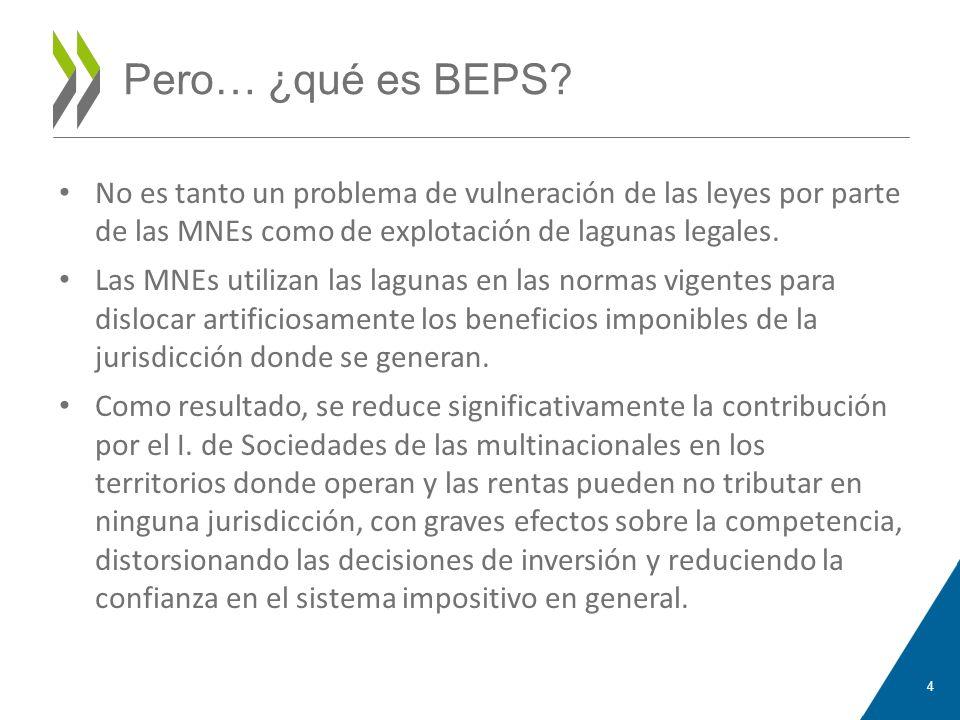 Pero… ¿qué es BEPS? No es tanto un problema de vulneración de las leyes por parte de las MNEs como de explotación de lagunas legales. Las MNEs utiliza