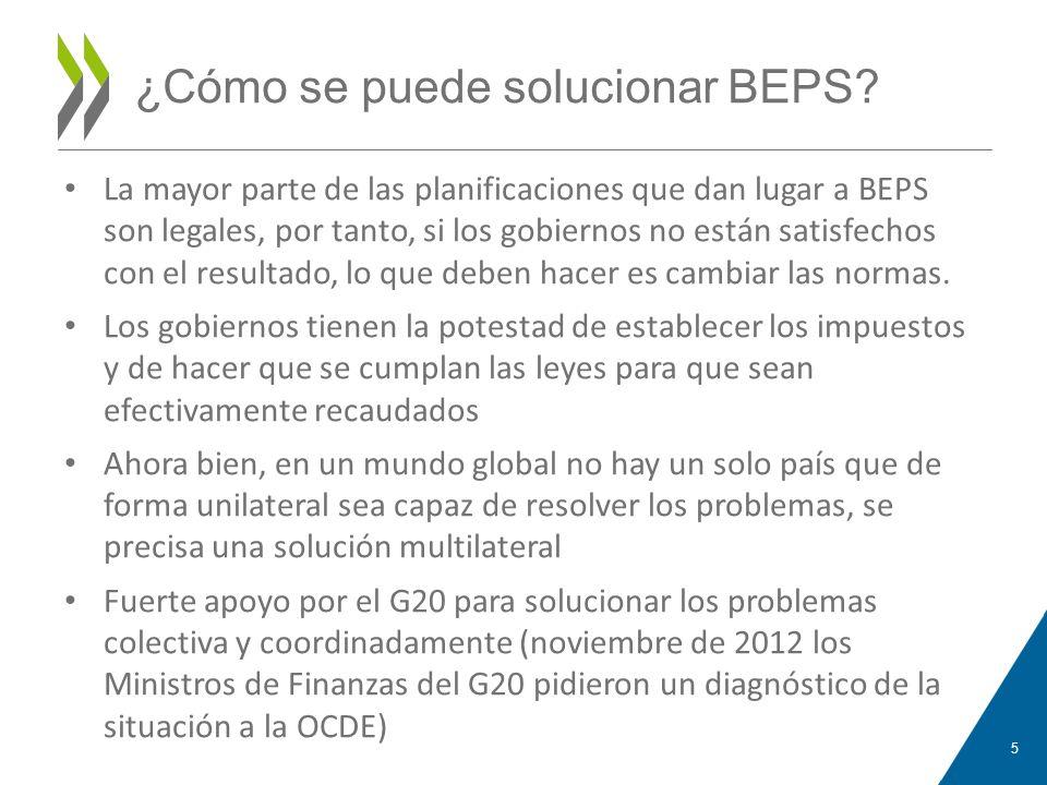¿Cómo se puede solucionar BEPS? La mayor parte de las planificaciones que dan lugar a BEPS son legales, por tanto, si los gobiernos no están satisfech