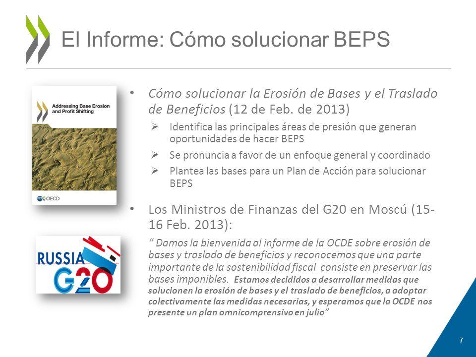 El Plan de Acción sobre BEPS El Plan de acción de BEPS se publicó en julio de 2013 15 acciones, organizadas acerca de tres pilares fundamentales: La coherencia del I.